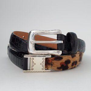 Talbots & Brighton Leather & Leopard Print Belt, S